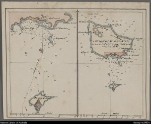 Map of Norfolk Island (right) and Sydney Bay (left), c1790.  Image source Nationbal Library of Australia map-rm3460-v