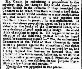 Commoners have a long history of fighting to defend their commons. 'Field of Mars Common', Sydney Morning Herald, 4 April 1862, page 5