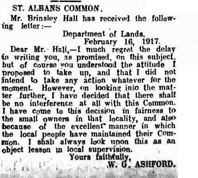 Sometimes, a politician had to admit that a common was important, even if a public servant had to be the whipping boy. Windsor and Richmond Gazette, 23 February 1917, page 4